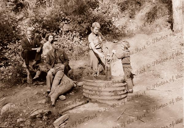 Tasting the waters at Hepburn Springs, Daylesford, Vic.c1930s Victoria. Spa