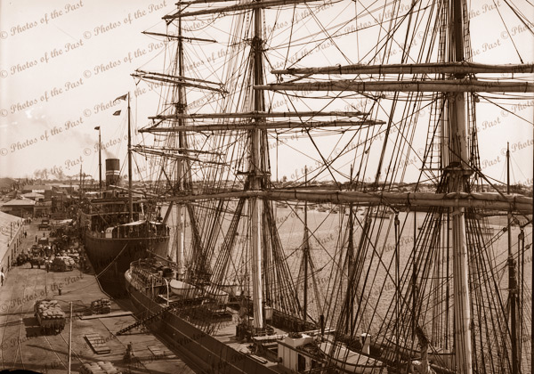 Port Adelaide looking west to SS KANOWNA, SA. 1904. Shipping. South Australia