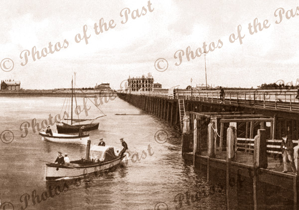 Largs Bay Jetty with steam tender & cutter from HMCS PROTECTOR c1900