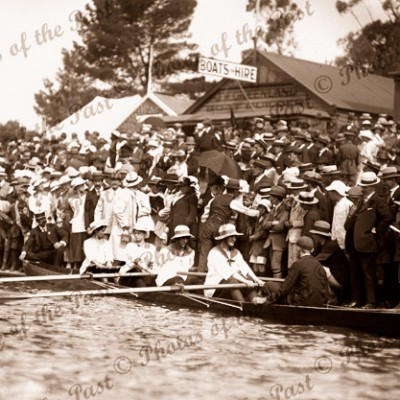 Getting ready for the Ladies Race. Boating. c1910
