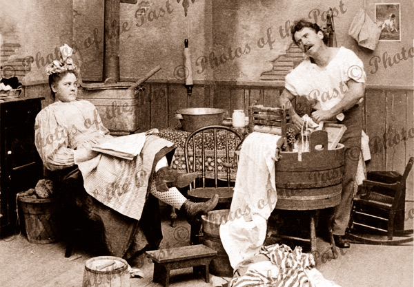 Woman's Rights, feminism, homour, laundry c1897