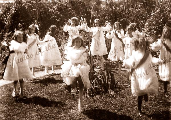 Girls at play in Plympton School Gardens, SA. c1900