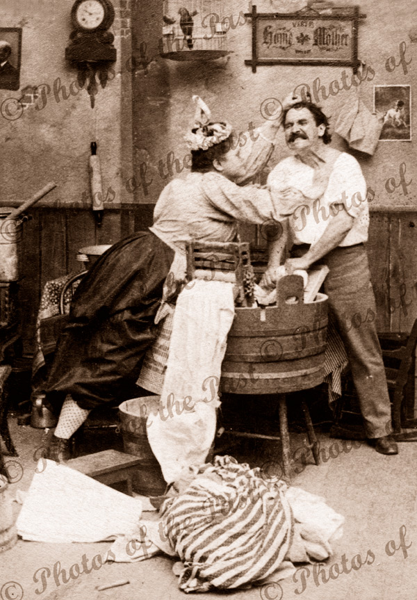 Don't tell me you won't wash. 1897.Humour, vertical, feminism, laundry