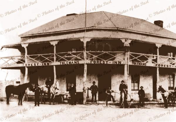 Toleman's 'Forest Inn', Glandore, SA. c1885. bicycles, horses. South Australia