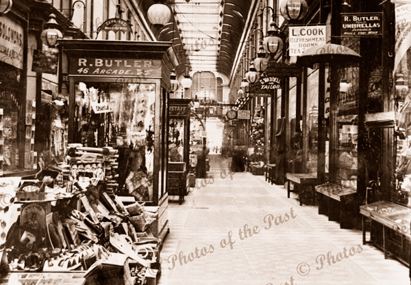 Adelaide Arcade, SA. South Australia. c 1900s. Retail shops