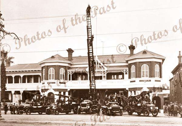 Fire Brigade procession, Victoria Square, Adelaide, SA. c1910s