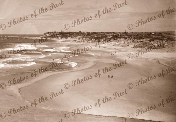 Port Noarlunga, SA, looking north from Onkaparinga river mouth. South Australia c1940s