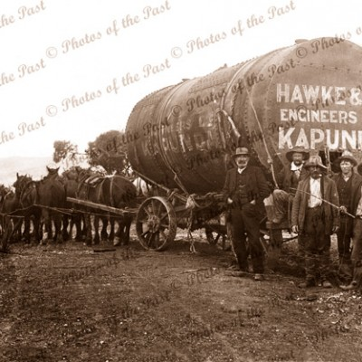 Boiler drum on way to Talisker mine, SA. c1930s. South Australia