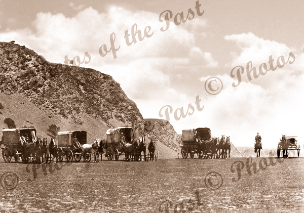 Manisty's carrier vans at the Little Gorge, Lady Bay SA, South Australia. c1910. Horse and wagon