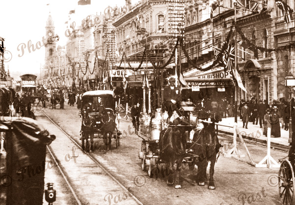 King William St, Adelaide, SA. South Australia. Horse and carriage. 1901
