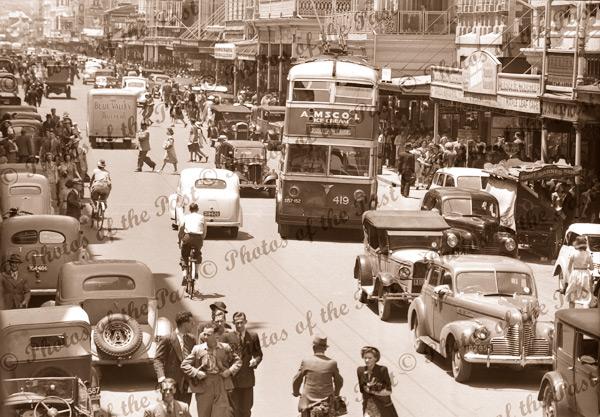 Rundle St. Adelaide, SA. c1940s. South Australia. Cars, bus,