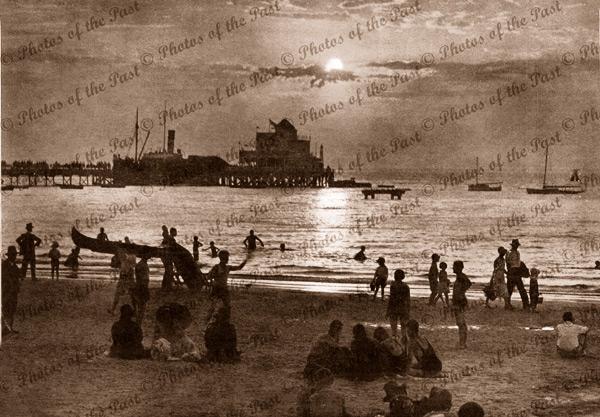 Sunset at Glenelg (KARATTA at jetty), SA.1932. Shipping. Beach. South Australia