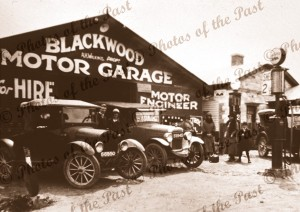 Blackwood Motor Garage, SA, c1920s. South Australia. Cars