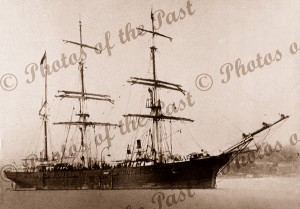 Barque ROYAL at anchor, Sydney, NSW c1890s. New South Wales. Shipping