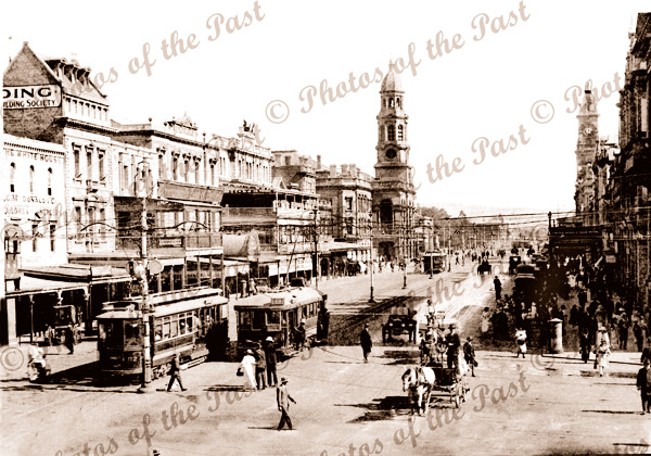 King William Street, looking south. SA. c1910s. trams. South Australia