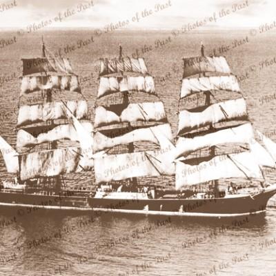 4m barque LAWHILL under sail. SA waters. c1940s. South Australia