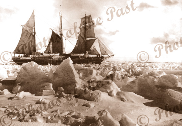 ENDURANCE under sail, trapped in ice, Shackleton's Impiral Trans Antarctic Expedition 1914-1916