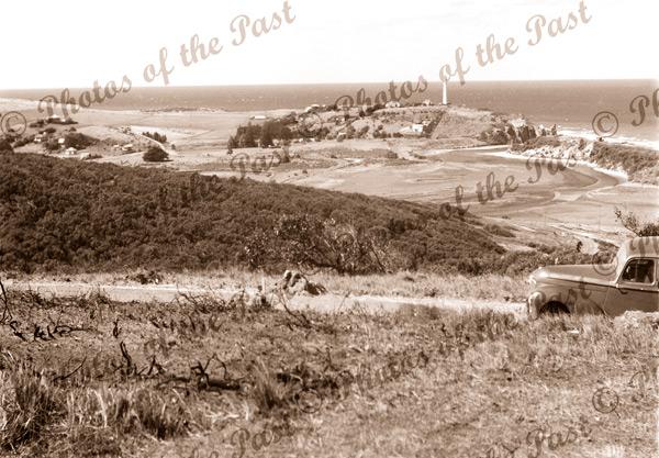 Panorama of Aireys Inlet, Vic. Victoria. Great Ocean Road. Car c1950s