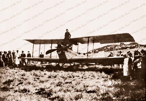 Bi-plane on Granite Island, Victor Harbor, SA . c1920s. South Australia. Pilot