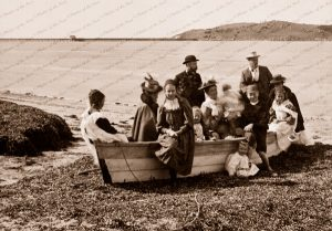 Family group on foreshore, Port Victor, SA. c1890s. Boat. South Australia.