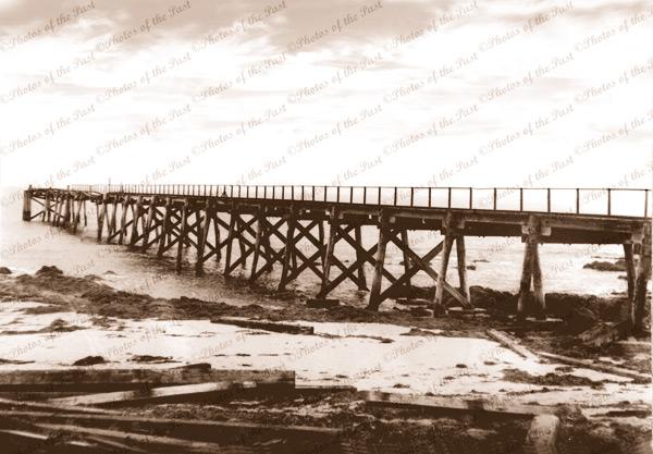 Carrickalinga Jetty at Haycock Point, SA. October 1948. Pier. South Australia.