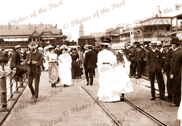 Glenelg, SA. From jetty looking to Moseley Square. c1900s. South Australia. People