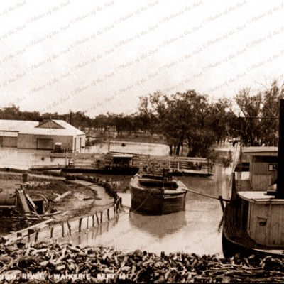 High river at Waikerie SA with PS MERLE Sept 1917 riverboat. South Australia