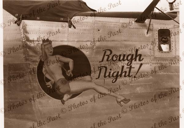 U.S.Warplane nose art WW2 - 'Rough Night' c1940s