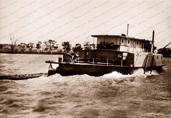 PS RENMARK near Mannum, SA. 1908. Riverboat. South Australia
