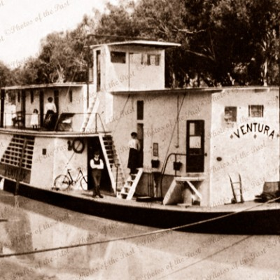 PS VENTURA at river bank on Darling River, NSW. E. Dodd River Trader c1910. New South Wales. Riverboat
