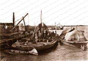 Goolwa shipping. SA Barges being loaded at wharf. Riverboat