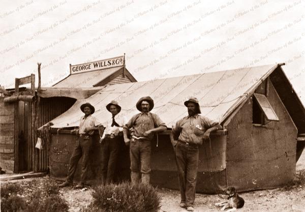 Surveyors' railway camp. George Wills & Co. Office? Northern SA. 1910. South Australia