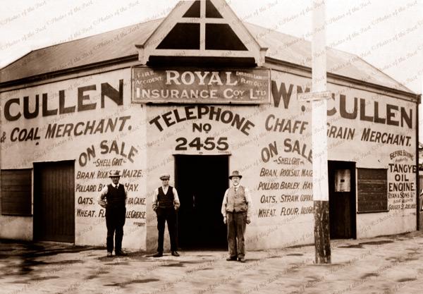 W. Cullen, Fisher St. Terowie. SA. Chaff & grain merchant. 1908. South Sustralia