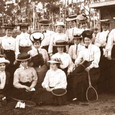 Group of ladies with their tennis raquets. Jamestown, SA. 1900s. South Australia.