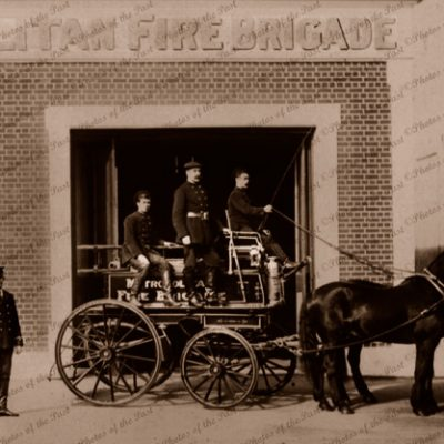 Horse-drawn fire engine with firemen. Metropolitan Fire Brigade. c1900s, SA?