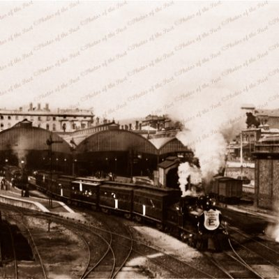 Adelaide Railway Station with steam trains From Morphette Bridge, SA. c1910. South Australia.