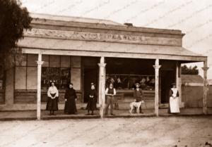 Butcher & Taylor shop at Hawker, SA. c1900s. south australia. Dog