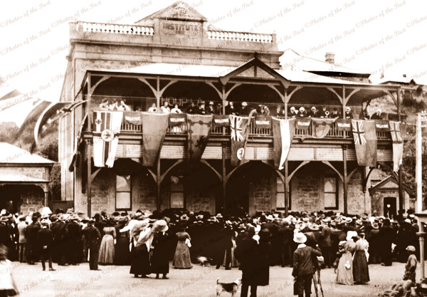 Opening of 2nd storey to Mannum Institute, SA. (Original built 1882). 1911. South Australia. Flags