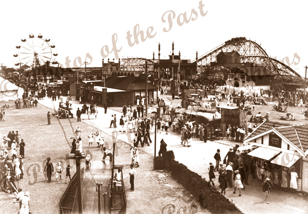 Side-shows and Big Dipper at Glenelg, SA. 1930. South Australia. Roller Coaster