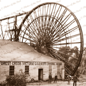 Garfield water wheel on Forest Creek, Castlemaine Goldfields, Vic.Victoria. c1900