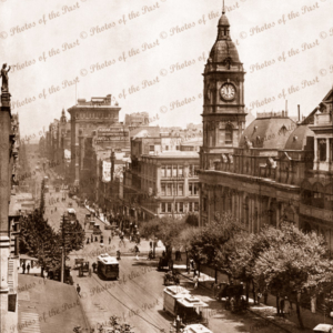 Collins St, Melbourne, looking towards Spencer St, with cable trams,Vic. 1921. Victoria. 1921