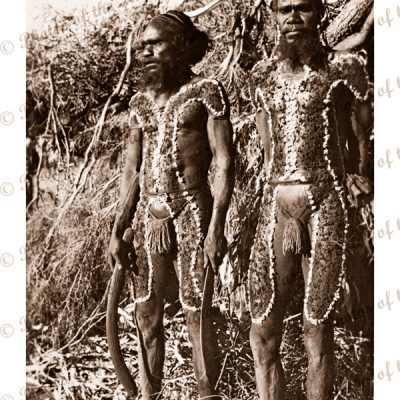 Two Aborigines in traditional dres. Tennant Creek NT. Boomerang. Northern Territory. c1950