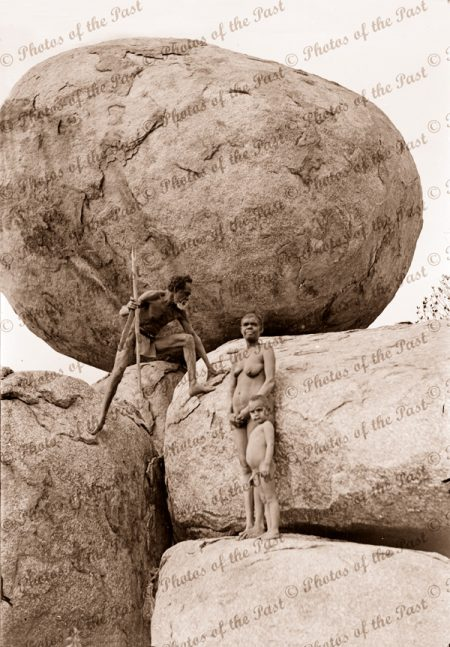 Aborigine family at Devils Marbles, near Tennant Creek NT. Northern Territory. c1936