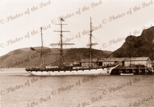 Barque LANGSTONE at wharf, Pt Chalmers, NZ. Built 1869. Shipping