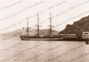Ship EUTERPE (later STAR OF INDIA) at wharf, Pt Chalmers, NZ. Built 1863. New Zealand. Shipping