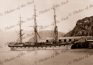 Ship TREVELYAN at wharf, Pt Chalmers, NZ. Built 1863. New Zealand. Shipping