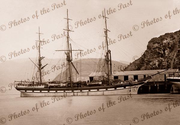 Ship TREVELYAN at wharf, Pt Chalmers, NZ. Built 1863. New Zealand. Shipping