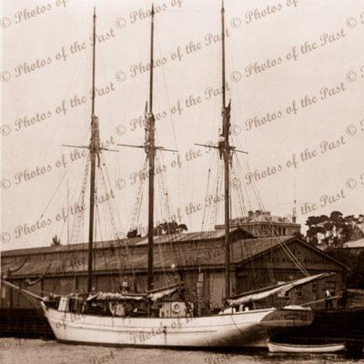 Schooner ROOGANAH, Hobart, Tasmania. c1910s. Shipping