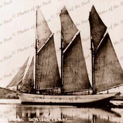 Schooner ROOGANAH in Denison Canal, Tasmania. c1910s. Shipping