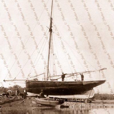 An Oyster Fishing Cutter on slip at Port Pirie, SA. 1890s. South Australia